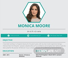 Free Dietician Resume Template