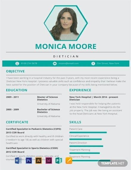Dietitian Resume Template [Free PSD] - Illustrator, InDesign, Word, Apple Pages, Publisher