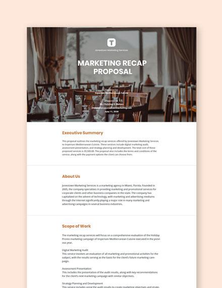 Restaurant Marketing Recap Proposal Template
