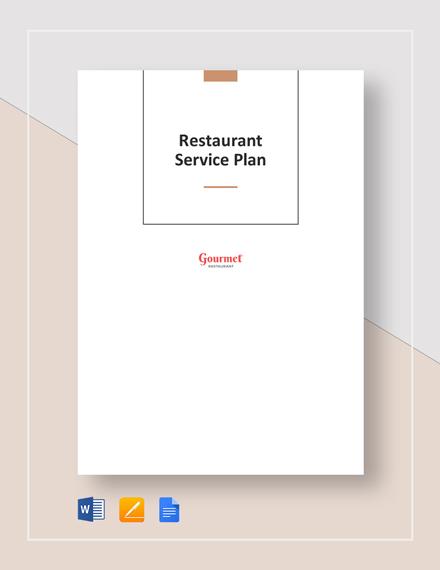 Restaurant Service Plan Template