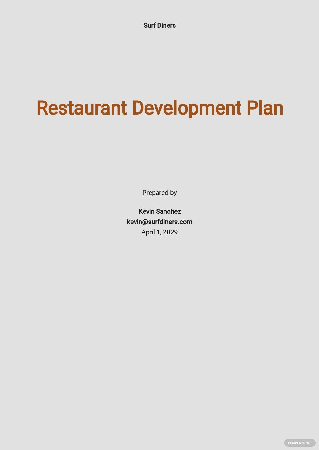 Restaurant Development Plan Template