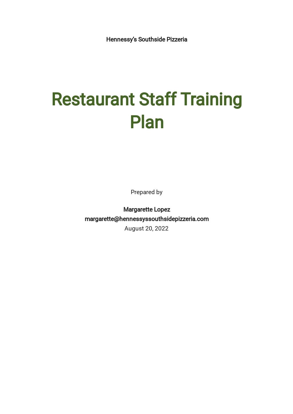 Restaurant Staff Training Plan Template.jpe