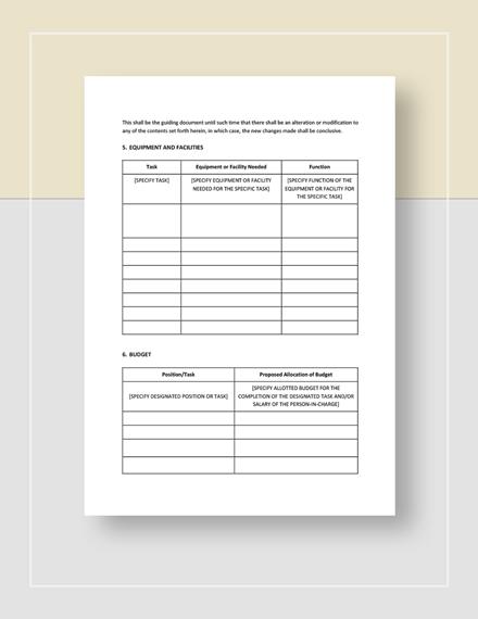 Restaurant Work Plan Download