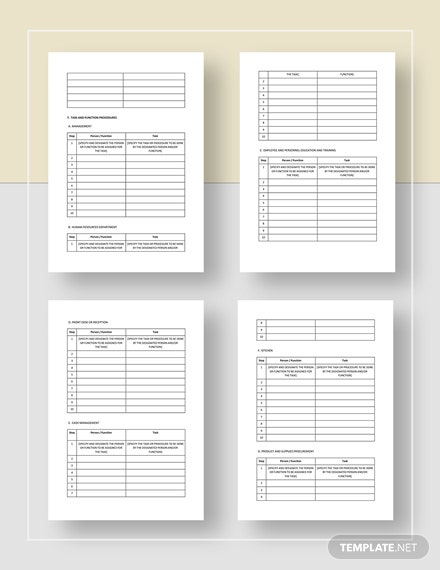 Sample Restaurant Work Plan