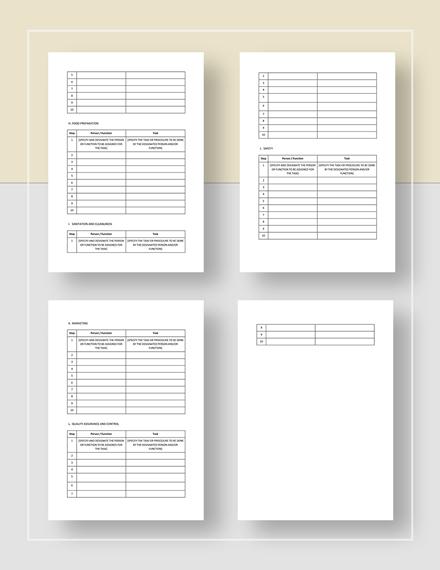Simple Restaurant Work Plan