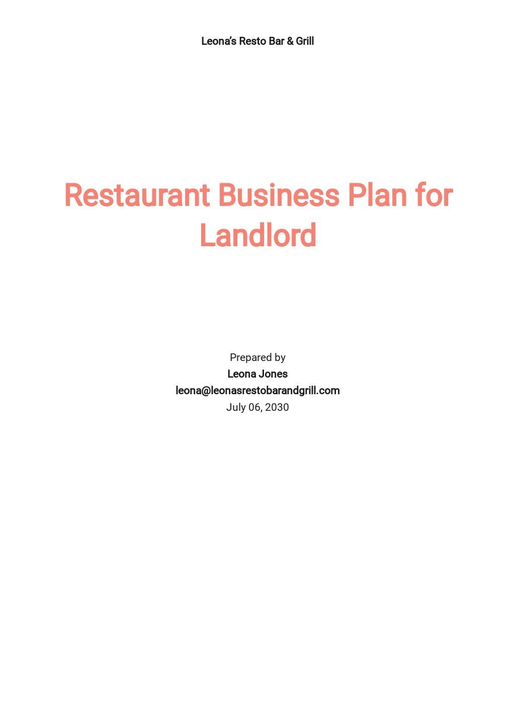 Restaurant Business Plan for Landlord Template