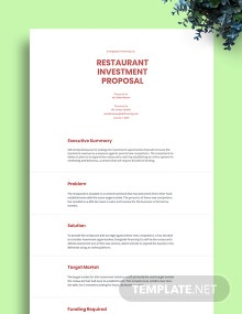 Restaurant Investment Proposal Template