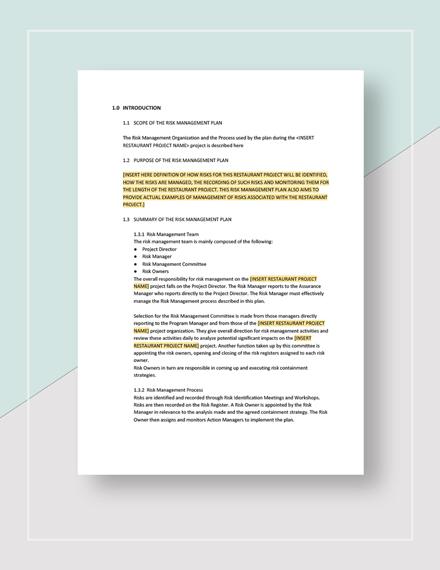 Sample Restaurant Risk Management Plan