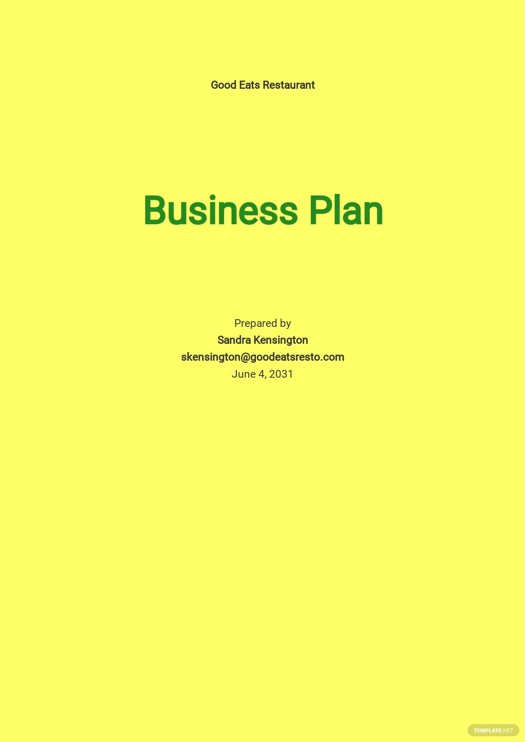 Restaurant Business Plan for Investors Template