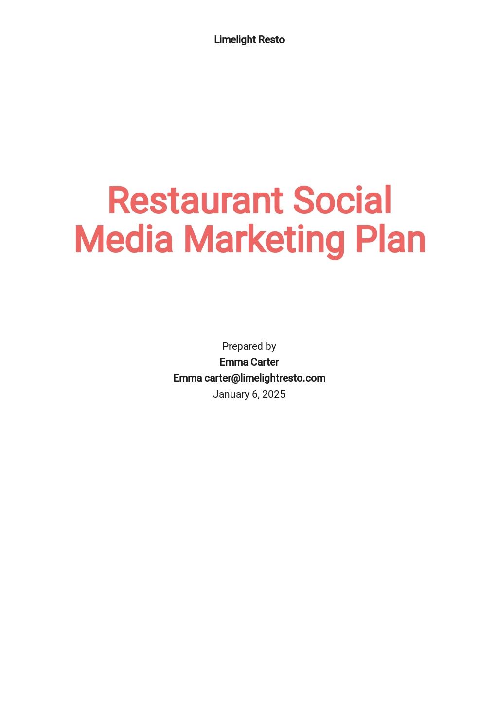 Restaurant Social Media Marketing Plan Template.jpe