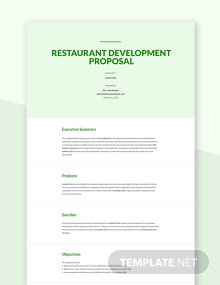 Restaurant Development Proposal Template