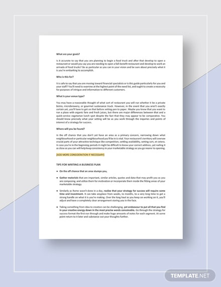 Restaurant Business Plan Guidelines Download