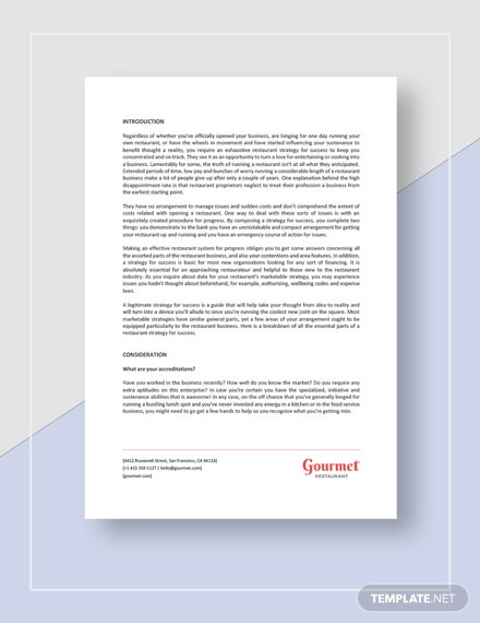 Restaurant Business Plan Guidelines Template