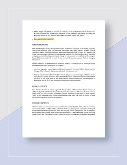 Sample Restaurant Business Plan Guidelines