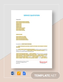 Restaurant Service Quotation Template