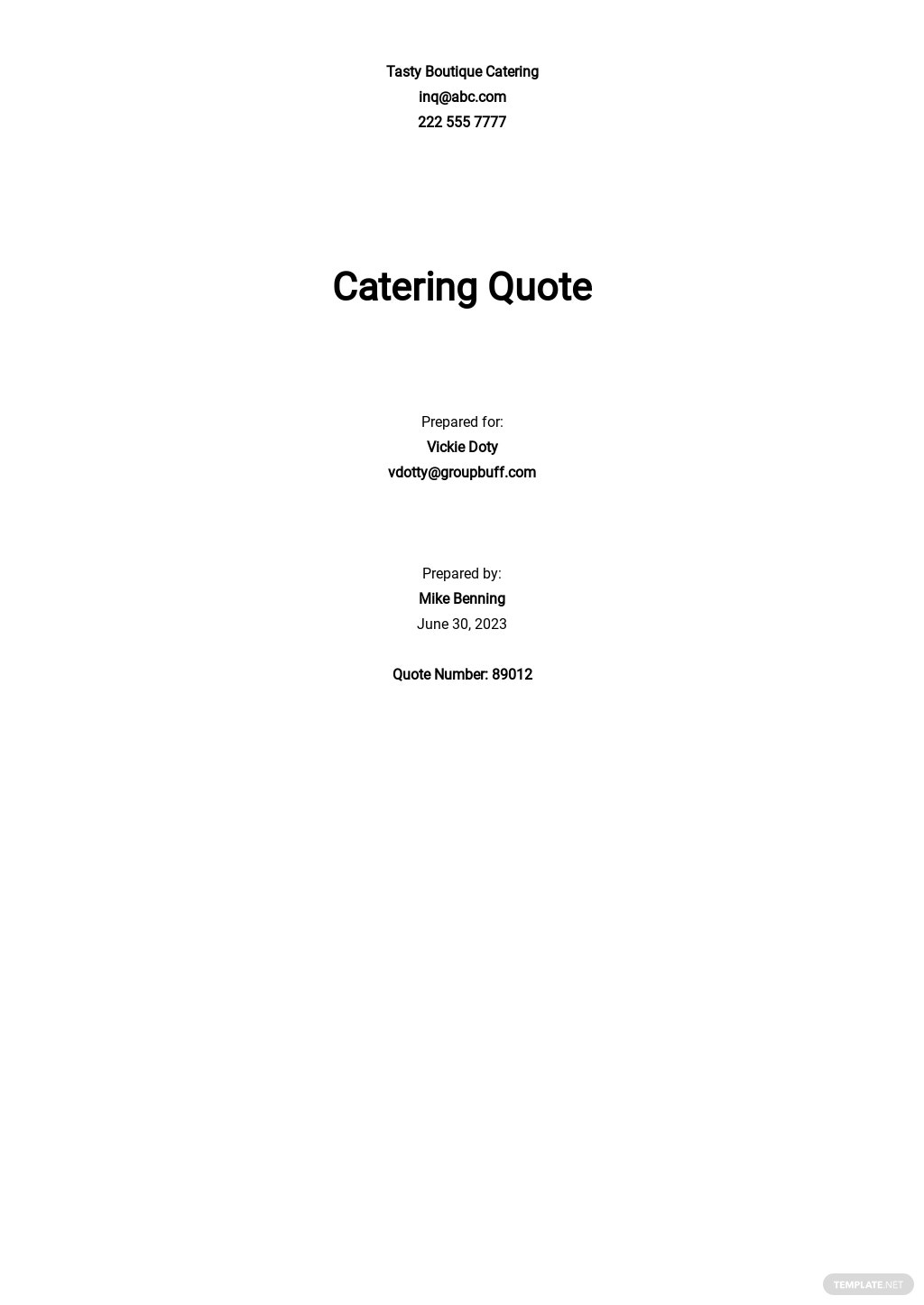 Catering Quote Template