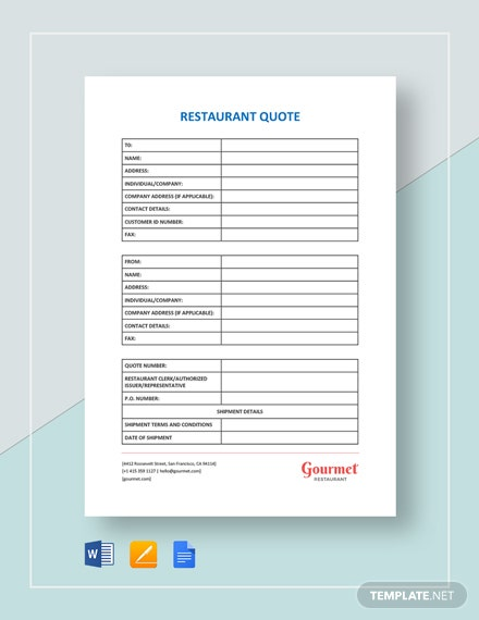 Restaurant Quote Template
