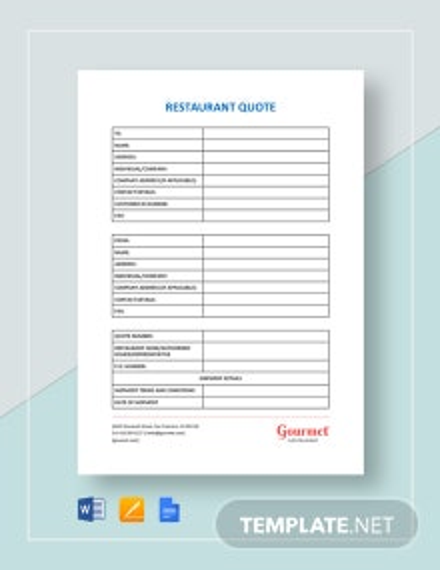 Restaurant Quote Template