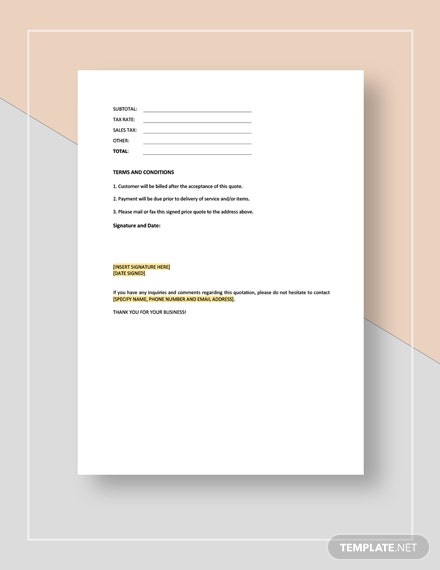 Maintenance Quote Template