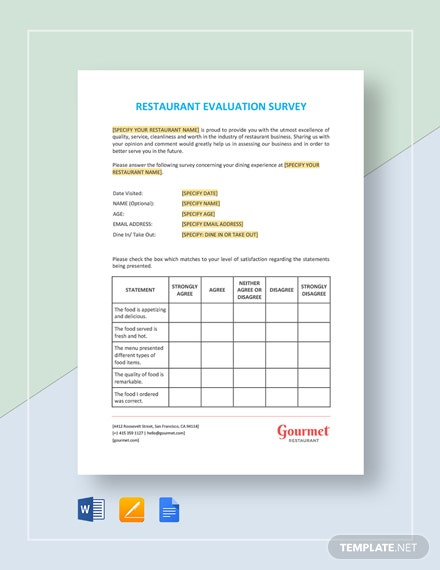 Restaurant Evaluation Survey Template
