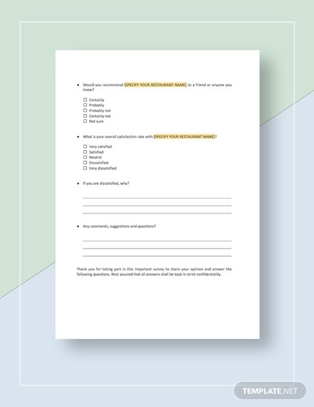 Restaurant Evaluation Survey Download