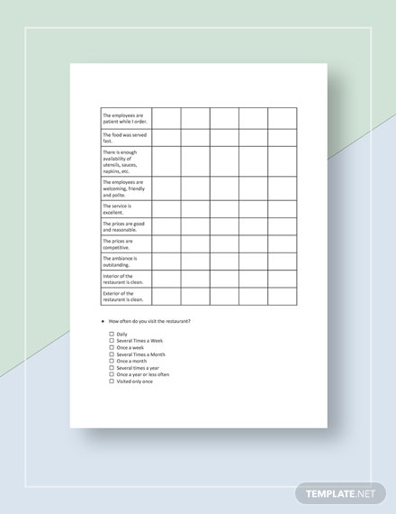 Restaurant Evaluation Survey Template