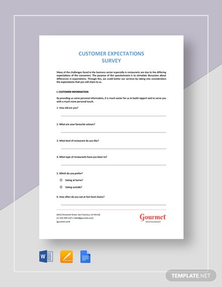 Restaurant Customer Expectation Survey Template