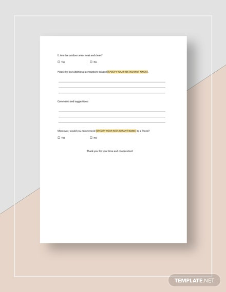 Sample Restaurant Guest Survey