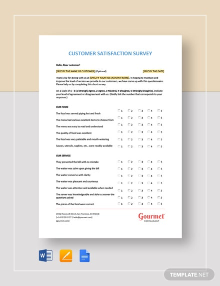 Restaurant Customer Satisfaction Survey Template