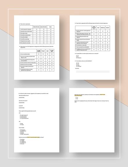 Simple Restaurant Customer Service Survey