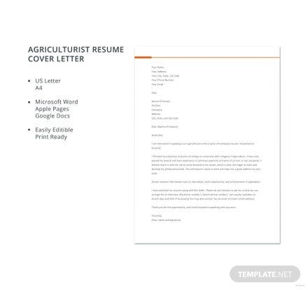 Free Agriculturist Resume Cover Letter Template