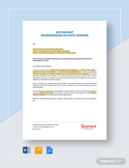 Restaurant Memorandum on Sale Seminar