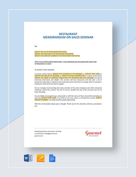 Restaurant Memorandum on Sale Seminar Template