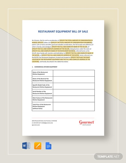 Restaurant Equipment Bill of Sale Template