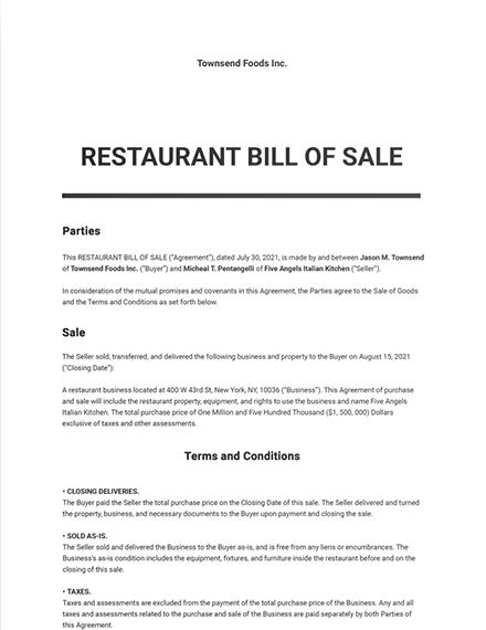 Restaurant Bill of Sale Template
