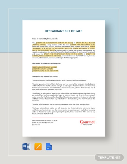 Restaurant Bill of Sale Template