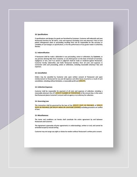 Restaurant Sales Disclaimer Download