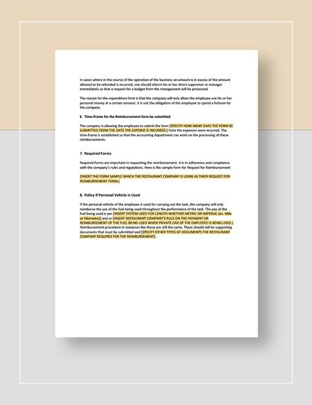 Restaurant Sales Expenses Reimbursement Policy Download