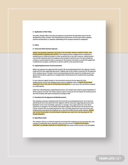 Restaurant Sales Expenses Reimbursement Policy Template