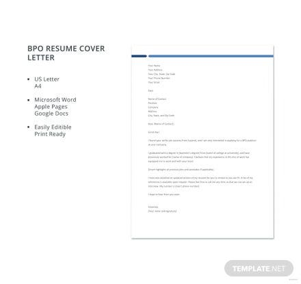Free BPO Resume Cover Letter Template