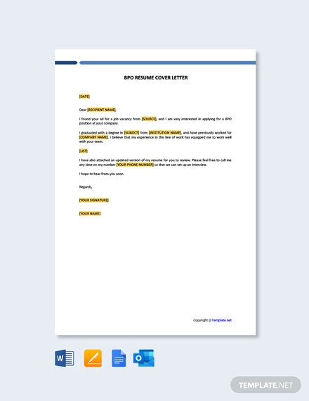 Free BPO Resume Cover Letter Template