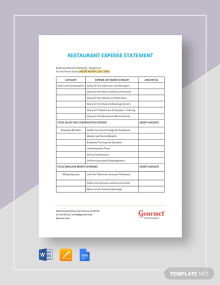 Restaurant Expense Statement Template
