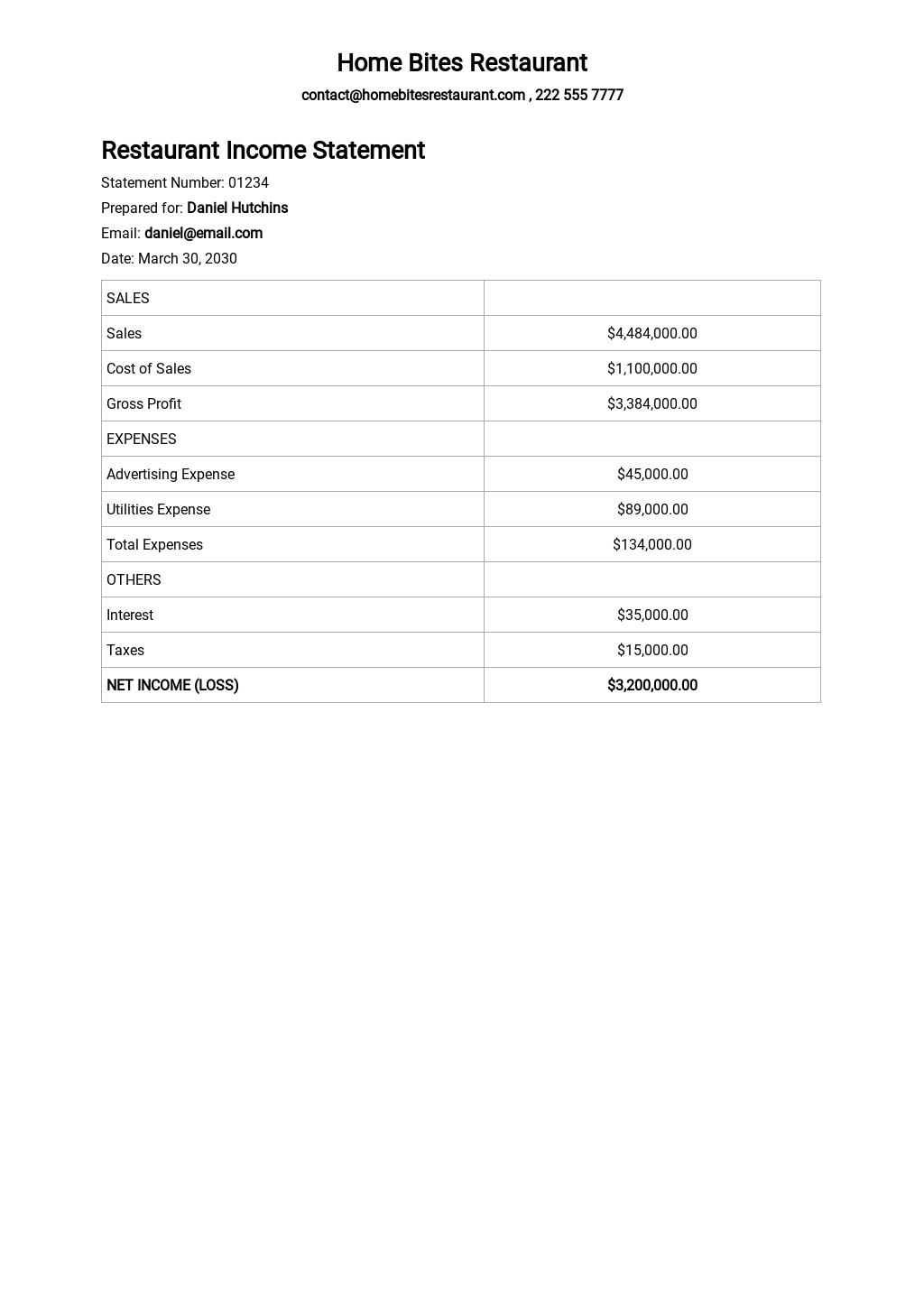 Restaurant Income Statement Quarterly Template