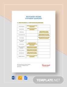 Restaurant Income Statement Quarterly Template