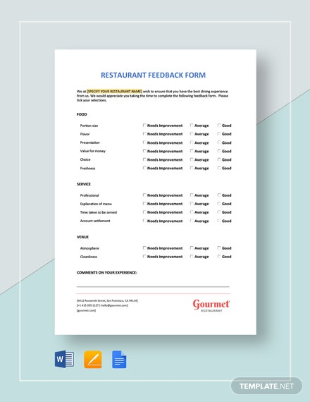 Restaurant Feedback Form Template