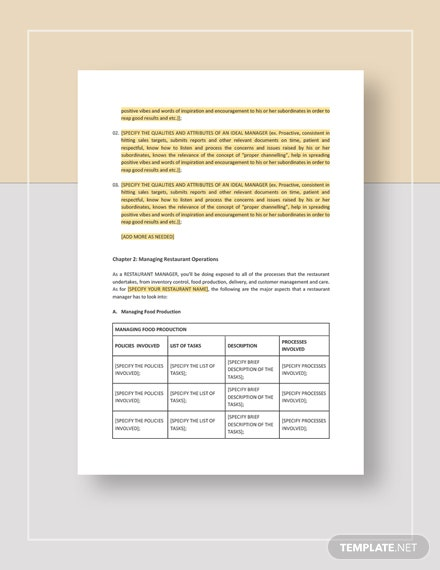 Restaurant Manager Training Manual Download