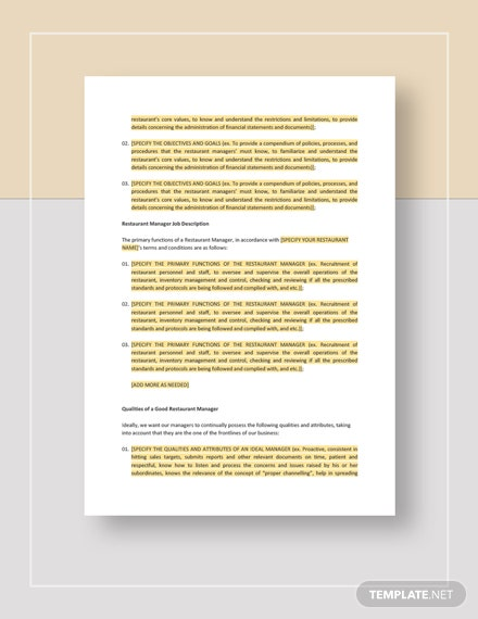 Restaurant Manager Training Manual Template