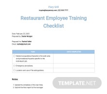 Restaurant Employee Training Checklist Template
