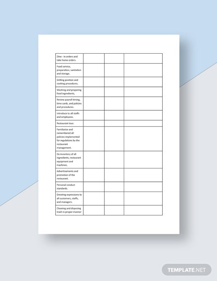 RestaurantEmployee Training Checklist Template