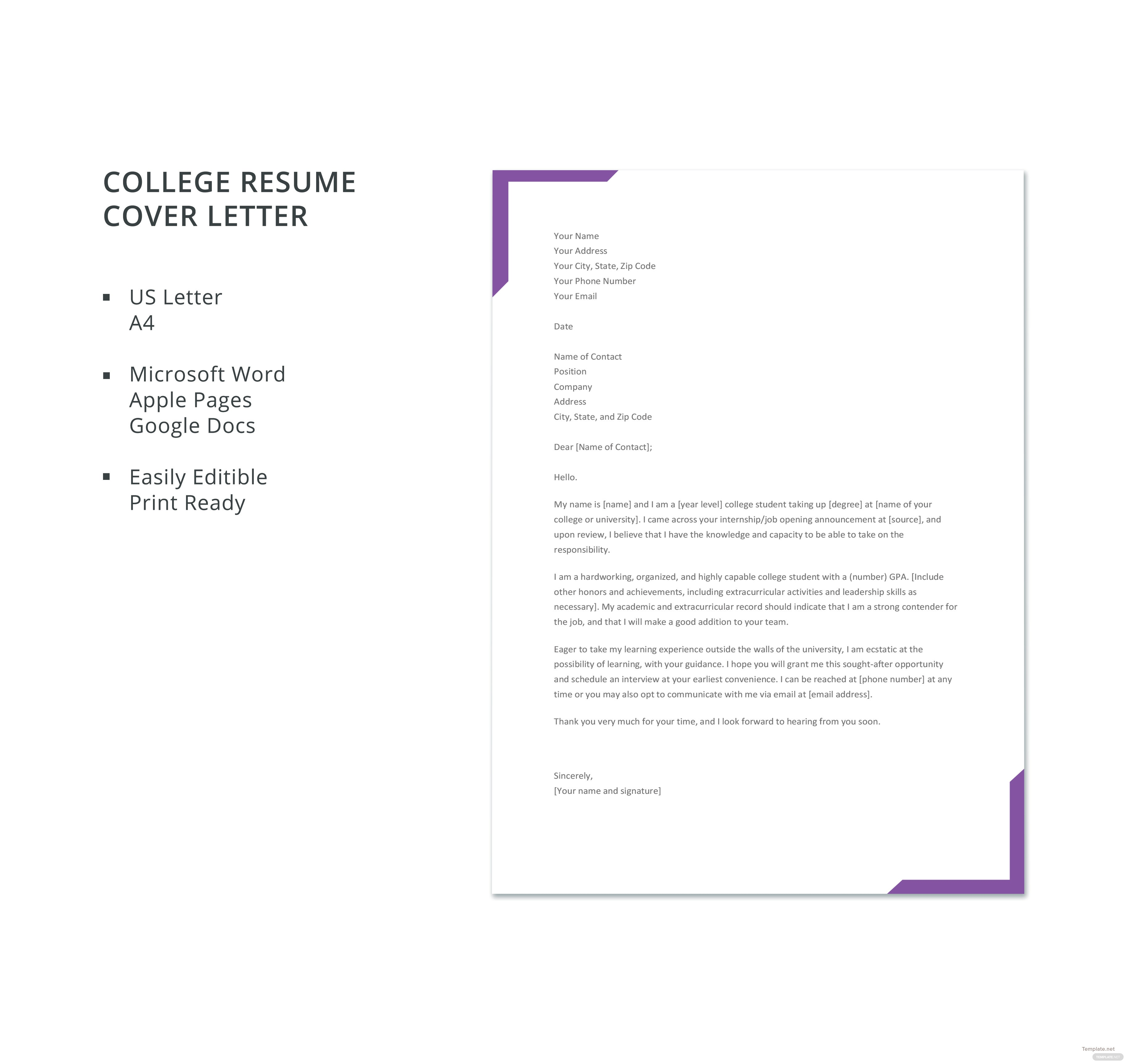 Free College Resume Cover Letter Template In Microsoft